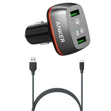 Anker A2224H12 Power Drive 2 with Quick Charge 3.0 Car Charger With microUSB Cable
